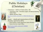 public holidays christian