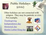 public holidays civic
