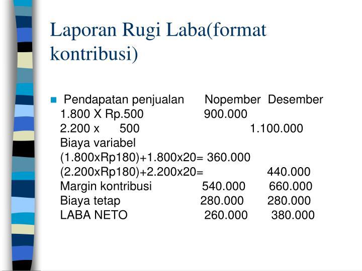 Laporan Rugi Laba(format kontribusi)