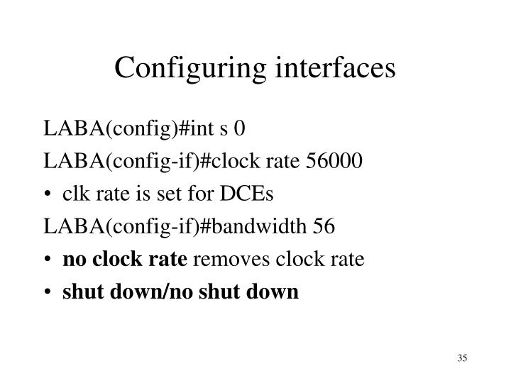 Configuring interfaces