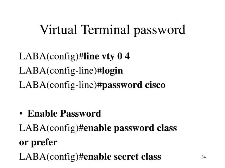 Virtual Terminal password