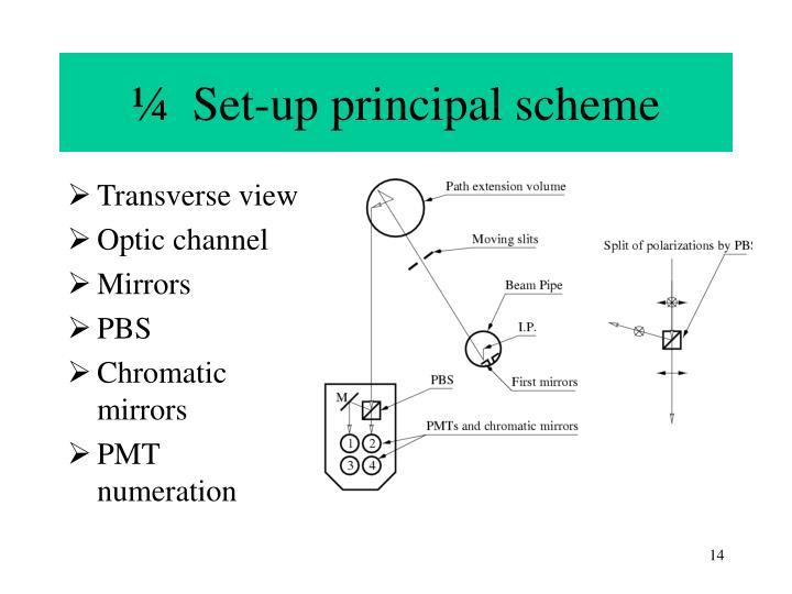 ¼  Set-up principal scheme