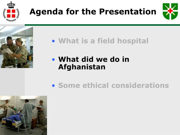 Agenda for the Presentation