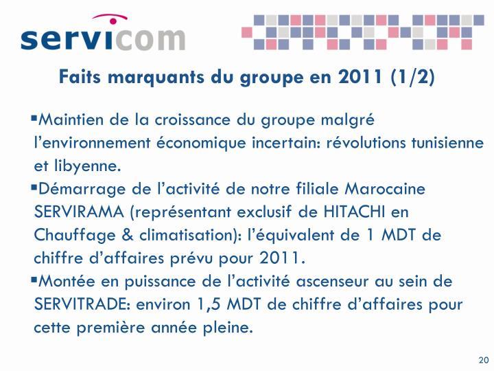 Faits marquants du groupe en 2011 (1/2)