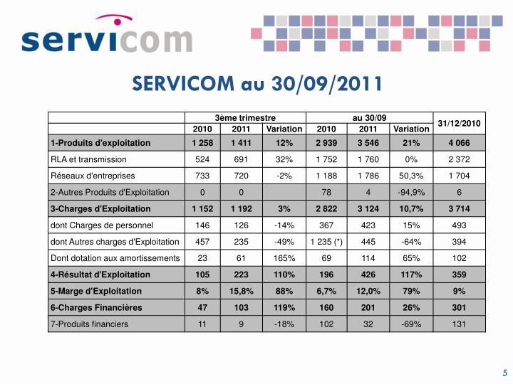 SERVICOM au 30/09/2011