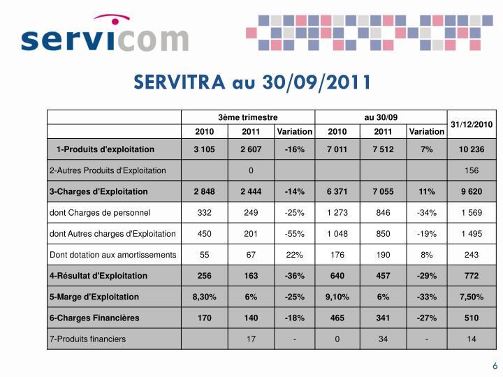 SERVITRA au 30/09/2011