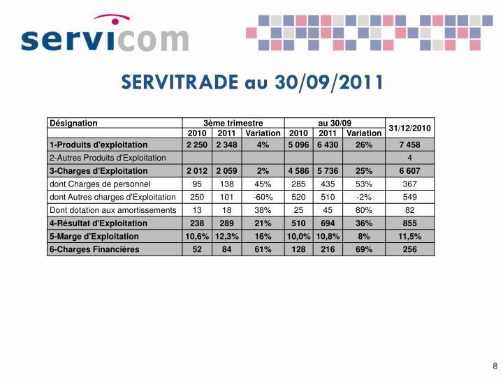 SERVITRADE au 30/09/2011