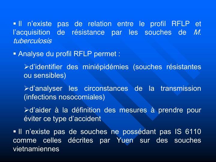Il n'existe pas de relation entre le profil RFLP et l'acquisition de résistance par les souches de