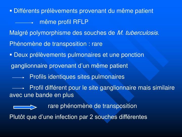 Différents prélèvements provenant du même patient