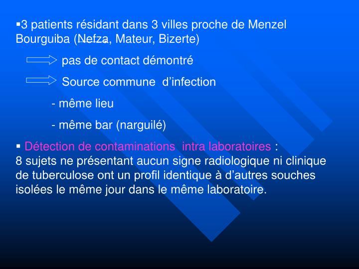 3 patients résidant dans 3 villes proche de Menzel Bourguiba (Nefza, Mateur, Bizerte)