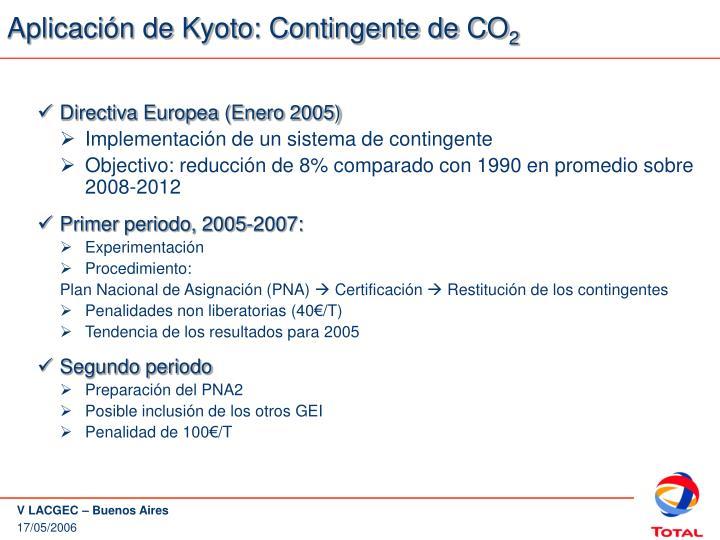 Aplicación de Kyoto: Contingente de CO