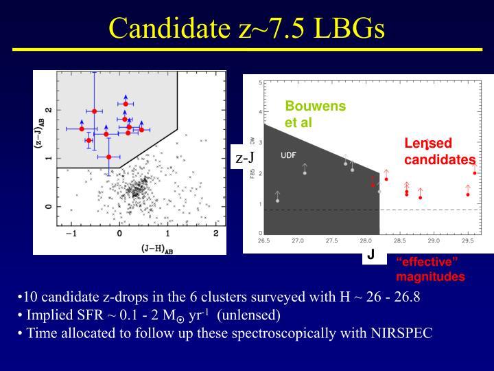 Candidate z~7.5 LBGs