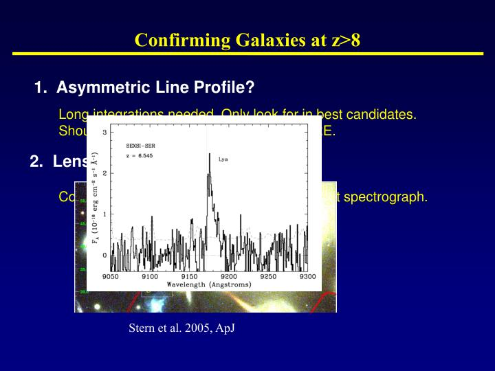 Confirming Galaxies at z>8