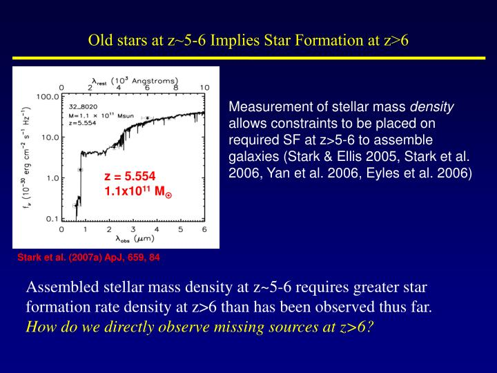Old stars at z~5-6 Implies Star Formation at z>6