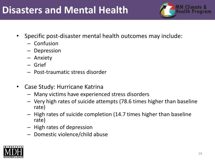 Disasters and Mental Health