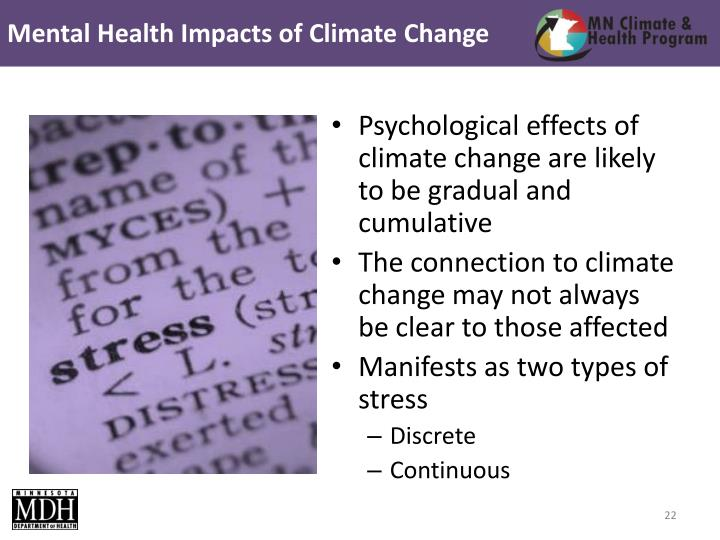 Mental Health Impacts of Climate Change