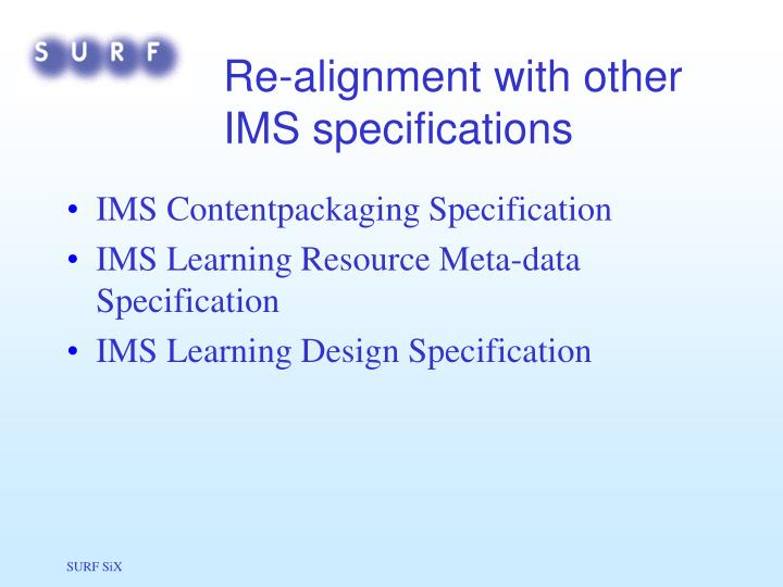 Re-alignment with other IMS specifications