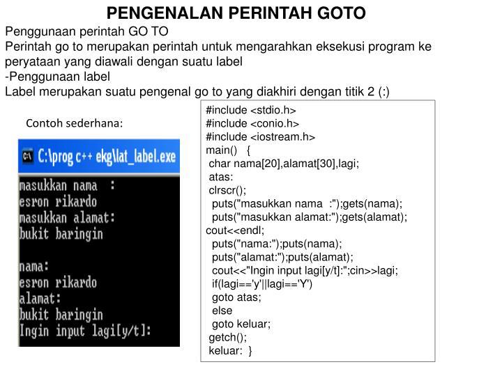 PENGENALAN PERINTAH GOTO