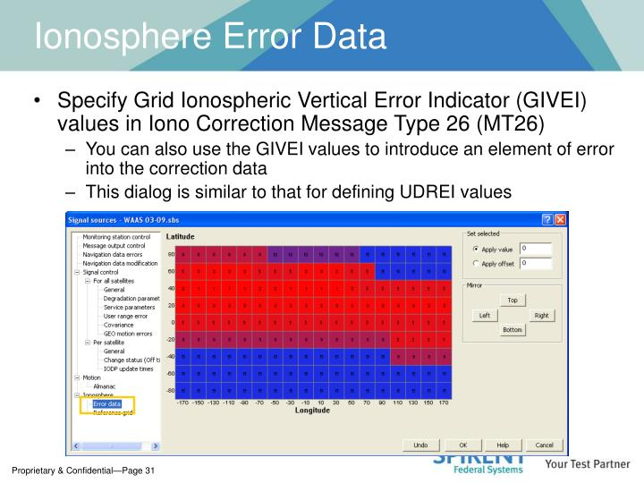 Ionosphere Error Data