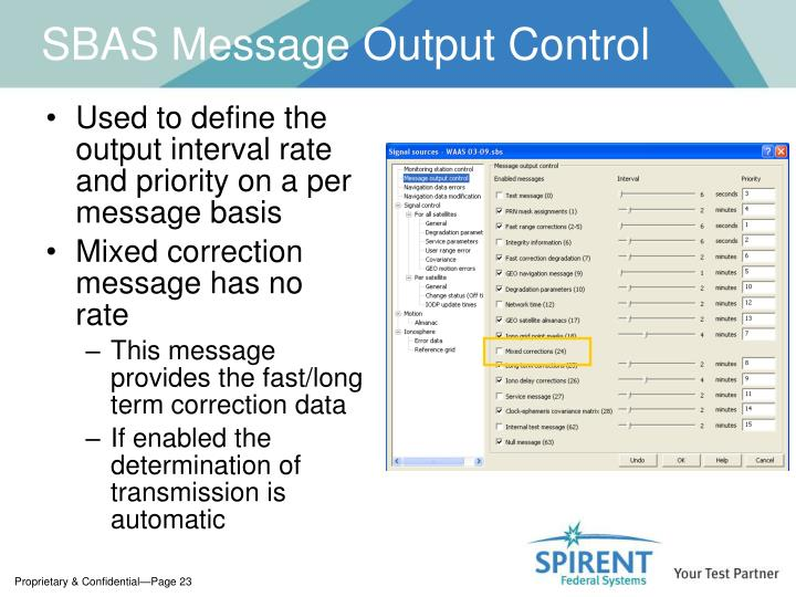 SBAS Message Output Control