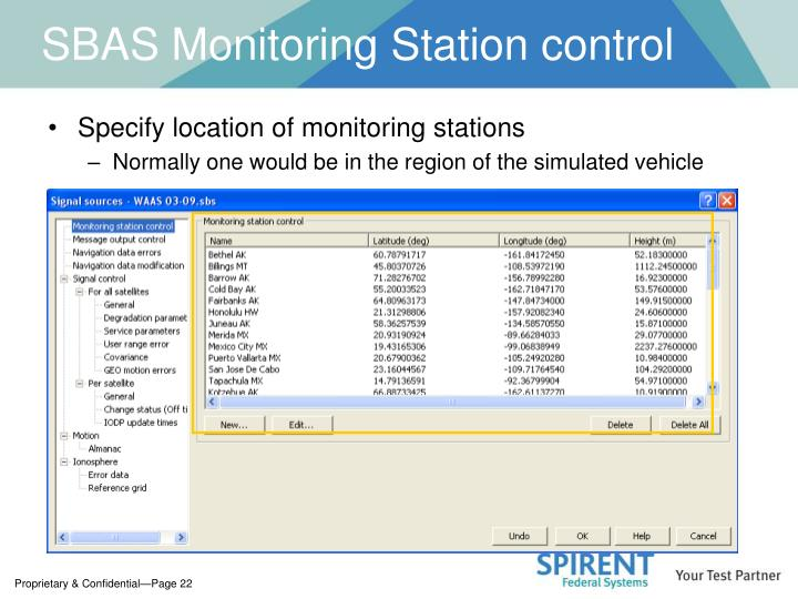 SBAS Monitoring Station control
