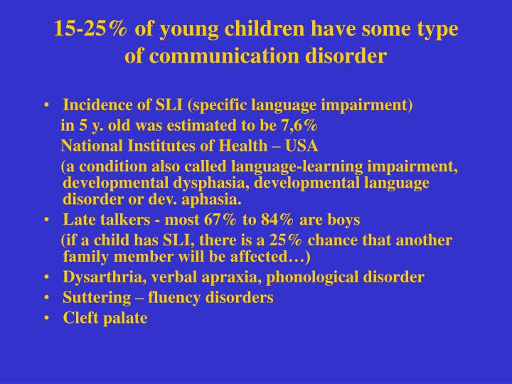 15 25 of young children have some type of communication disorder
