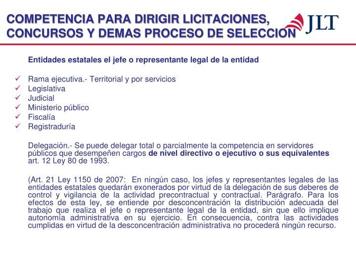 COMPETENCIA PARA DIRIGIR LICITACIONES, CONCURSOS Y DEMAS PROCESO DE SELECCION