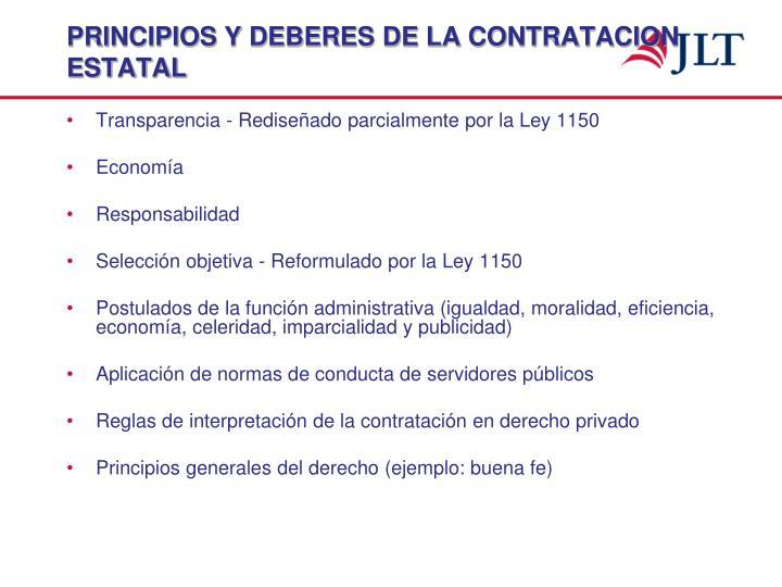 PRINCIPIOS Y DEBERES DE LA CONTRATACION ESTATAL