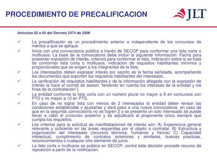 PROCEDIMIENTO DE PRECALIFICACION