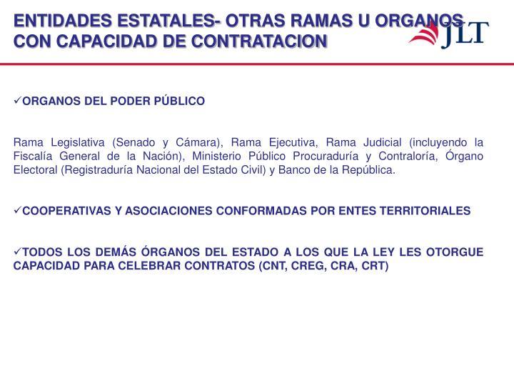 ENTIDADES ESTATALES- OTRAS RAMAS U ORGANOS CON CAPACIDAD DE CONTRATACION
