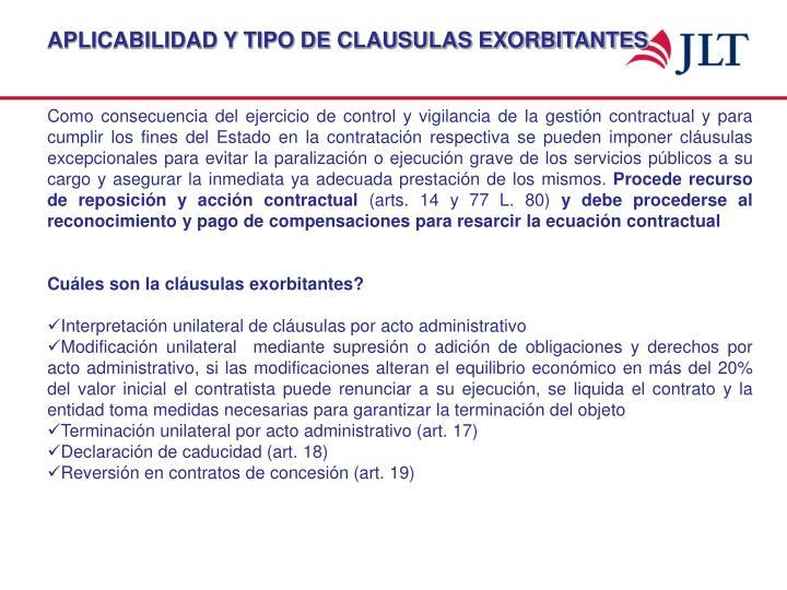 APLICABILIDAD Y TIPO DE CLAUSULAS EXORBITANTES