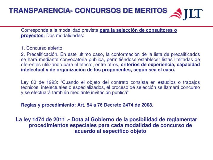 TRANSPARENCIA- CONCURSOS DE MERITOS