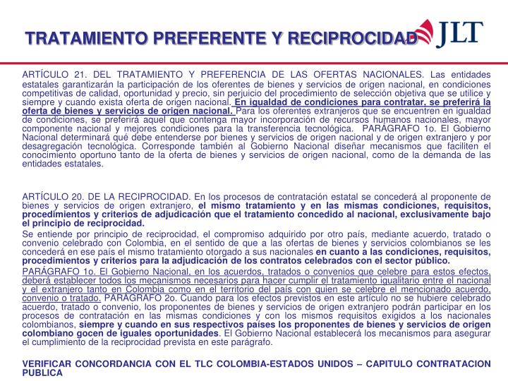 TRATAMIENTO PREFERENTE Y RECIPROCIDAD