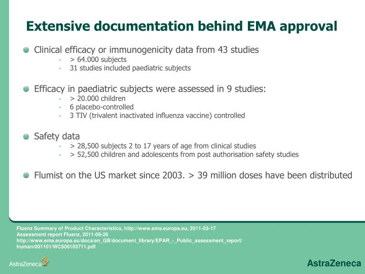 Extensive documentation behind EMA approval