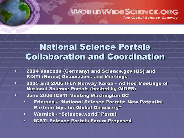 National Science Portals Collaboration and Coordination
