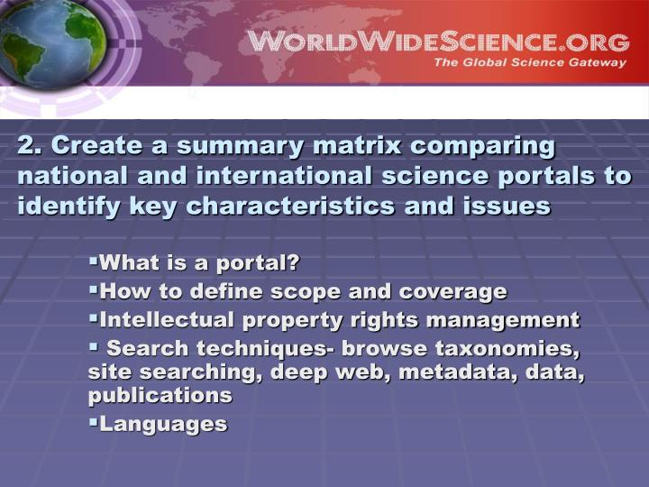 2. Create a summary matrix comparing national and international science portals to identify key characteristics and issues