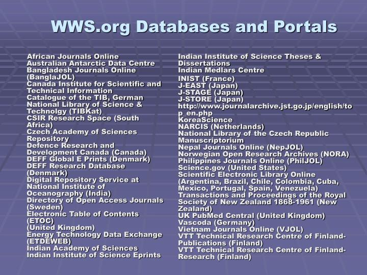 WWS.org Databases and Portals
