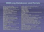 wws org databases and portals
