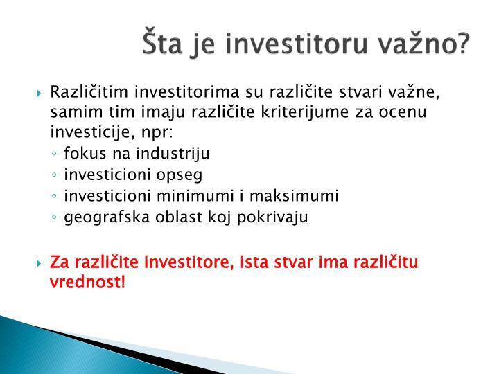 Šta je investitoru važno?