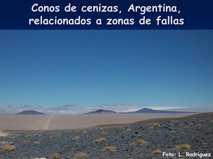 Conos de cenizas, Argentina, relacionados a zonas de fallas