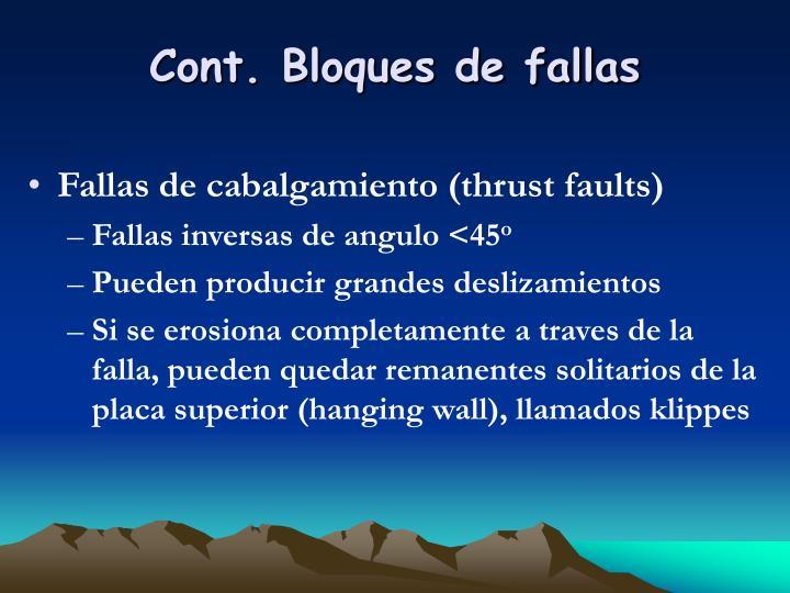 Cont. Bloques de fallas
