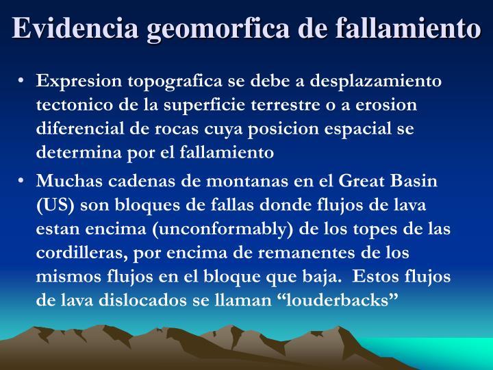 Evidencia geomorfica de fallamiento