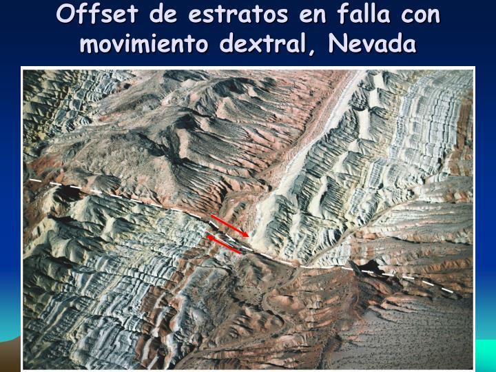 Offset de estratos en falla con movimiento dextral, Nevada