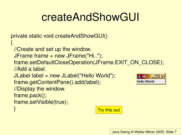 createAndShowGUI