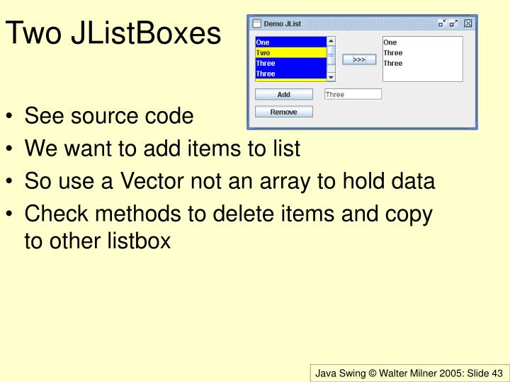 Two JListBoxes