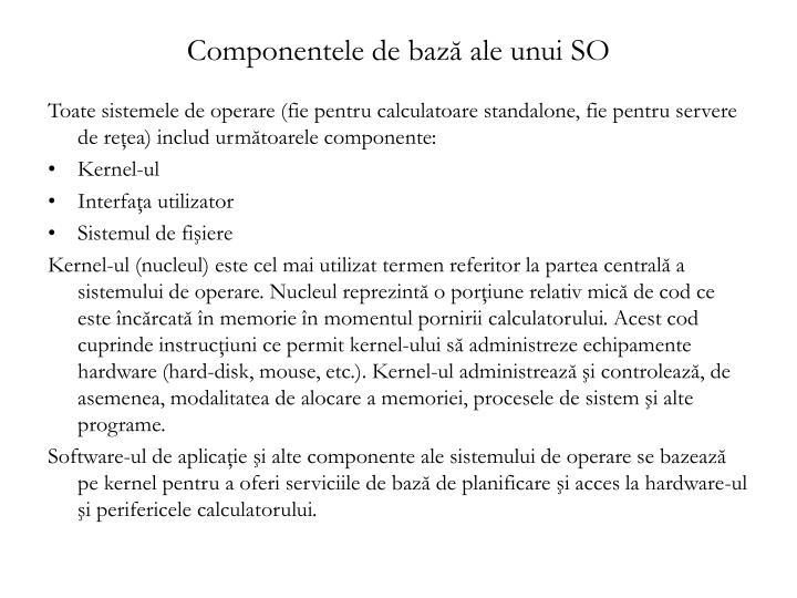 Componentele de bază ale unui SO