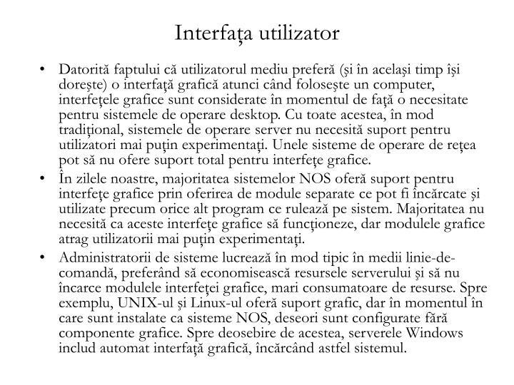 Interfaţa utilizator