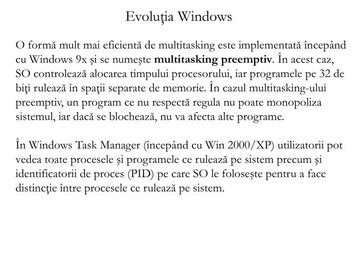 Evoluţia Windows