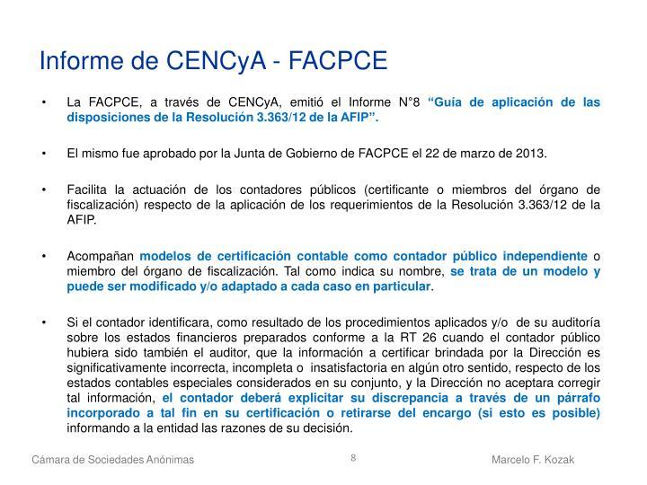 Informe de CENCyA - FACPCE