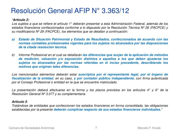 Resolución General AFIP N° 3.363/12
